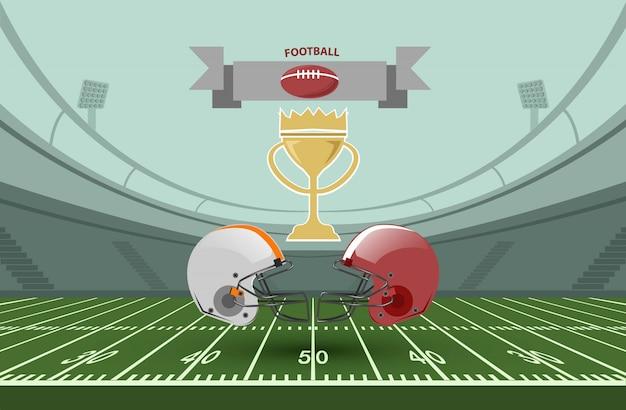 Eine illustration für ein meisterschaftsspiel des amerikanischen fußballs. Premium Vektoren