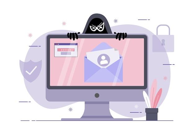 Eine illustration von phishing-betrug, hacker-angriff auf desktop-computer. greife hacker auf daten, phishing und hacking-verbrechen an Premium Vektoren
