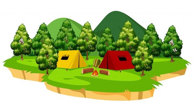 Eine isolierte campingplatzszene Premium Vektoren