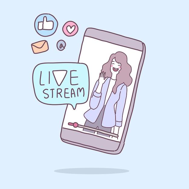 Eine junge dame überträgt eine live-übertragung über ein smartphone. Kostenlosen Vektoren