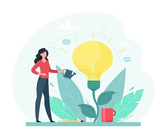 Eine junge frau gießt die pflanze mit einer glühbirne. Premium Vektoren