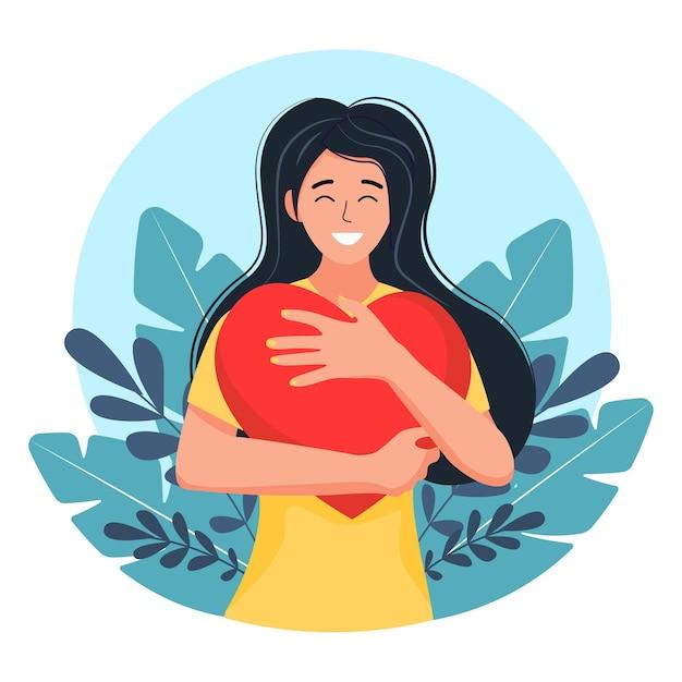 Eine junge frau umarmt ein großes herz mit liebe und fürsorge. das mädchen hält ein rotes herz in den händen. selbstpflege und positives körperkonzept. Premium Vektoren