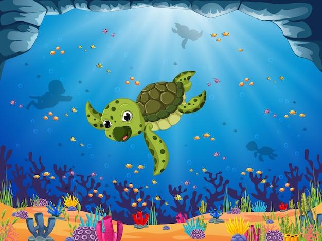 Eine junge grüne schildkröte schwimmt unter dem blauen meerblick Premium Vektoren