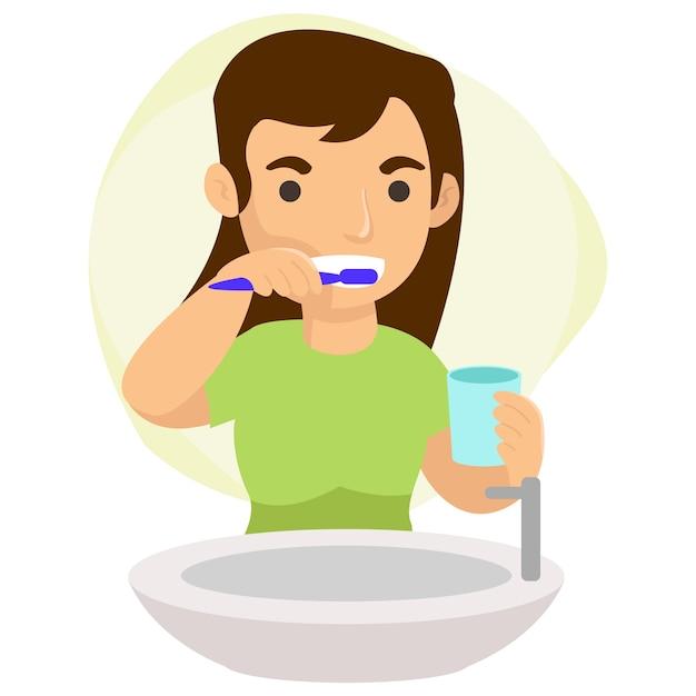 Eine junge mutter putzt sich jedes mal die zähne, wenn sie nachts schlafen möchte. perfekte grafiken für zielseiten, websites und mobile apps Premium Vektoren