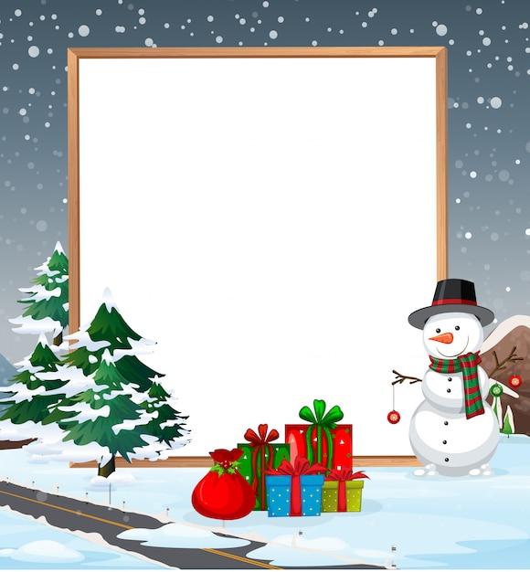 Eine kalte weihnachtsgrenze Kostenlosen Vektoren