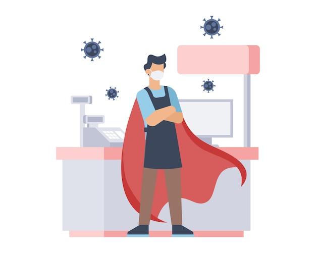 Eine kassiererin trägt eine gesichtsmaske und rote umhänge als superheld in der illustration der coronavirus-pandemie Premium Vektoren