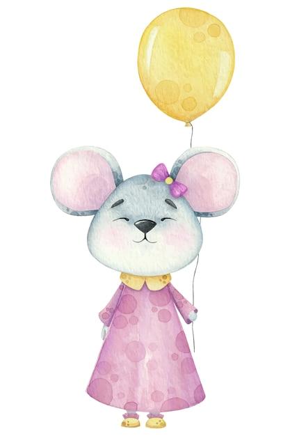 Eine kleine aquarellmaus mit einem geburtstagsballon. Premium Vektoren