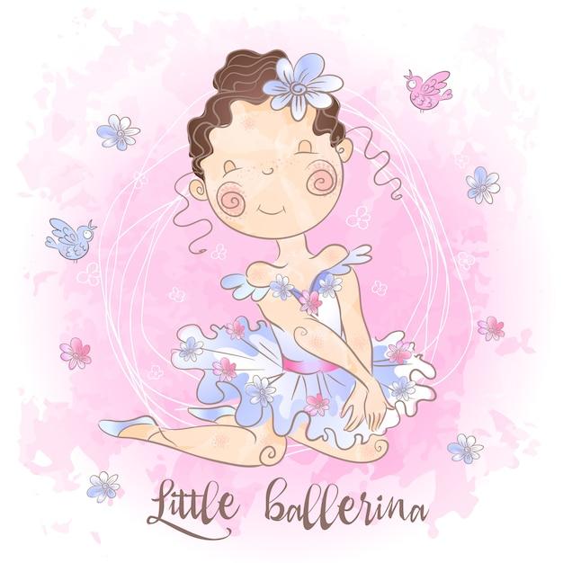 Eine kleine ballerina mit vögeln Premium Vektoren