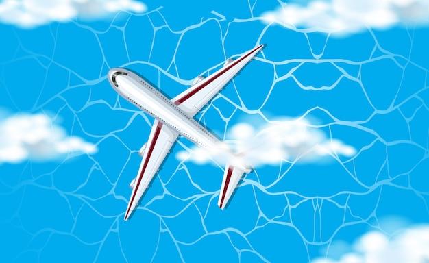 Eine luftaufnahme des flugzeugs im himmel Kostenlosen Vektoren