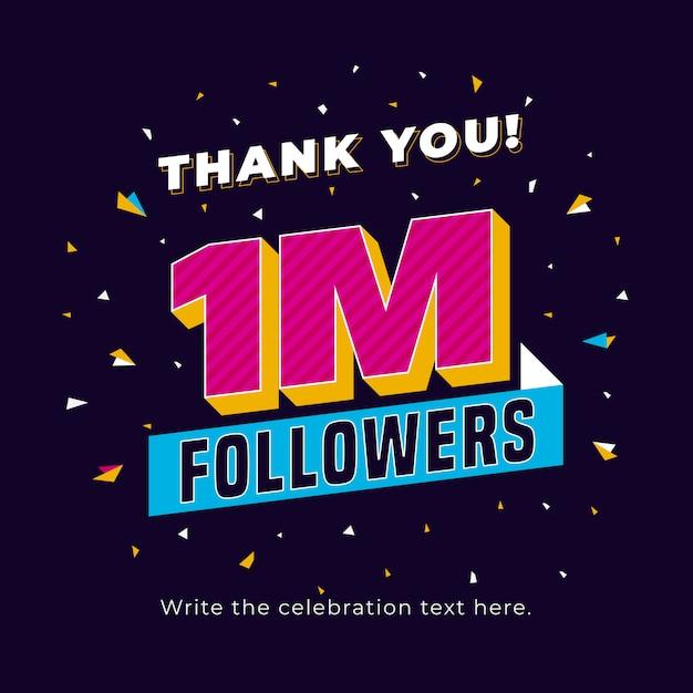 Eine million follower in sozialen medien veröffentlichen hintergrundvorlage Premium Vektoren