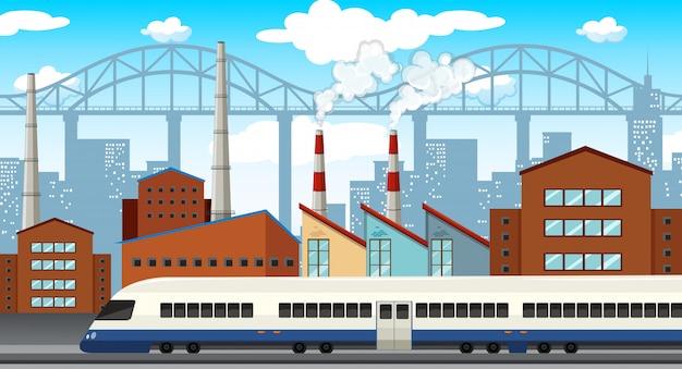 Eine moderne industriestadtillustration Kostenlosen Vektoren