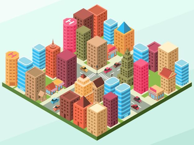 Eine moderne stadtlandschaft mit einigen gebäuden auf jedem block und straßen mit autos und Premium Vektoren