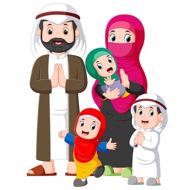 Eine muslimische familie mit drei kindern vergibt die begrüßung von ied mubarak Premium Vektoren