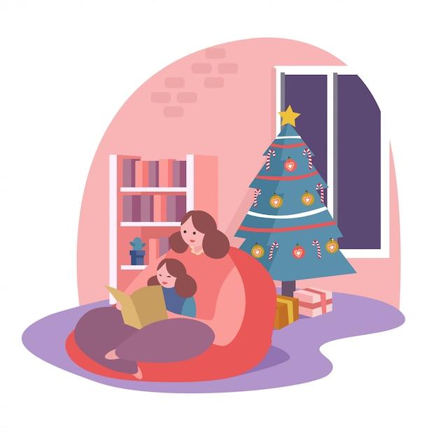 Eine mutter las ein buch für ihre tochter neben dem weihnachtsbaum Premium Vektoren
