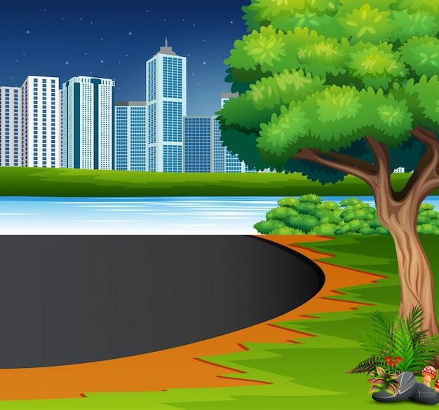 Eine natürliche aussicht mit einem städtischen hintergrund Premium Vektoren