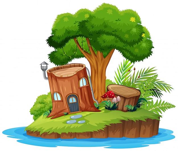 Eine naturbauminsel Kostenlosen Vektoren