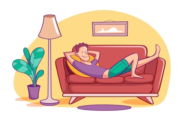 Eine person, die sich zu hause illustrationskonzept entspannt Kostenlosen Vektoren