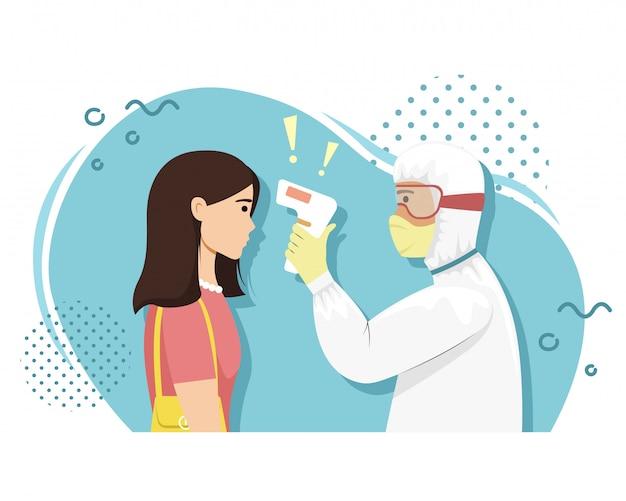 Eine person im bakterienschutz misst die temperatur des mädchens mit einer wärmebildkamera. virusinfektion. epidemie. Premium Vektoren