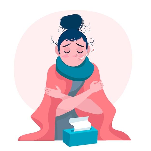 Eine person mit einer erkältung Kostenlosen Vektoren
