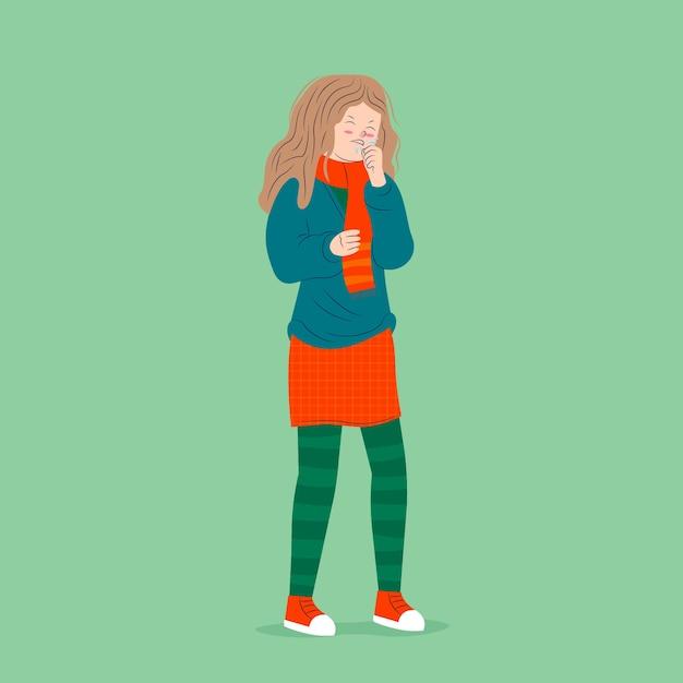Eine person mit einer kalten illustration Kostenlosen Vektoren