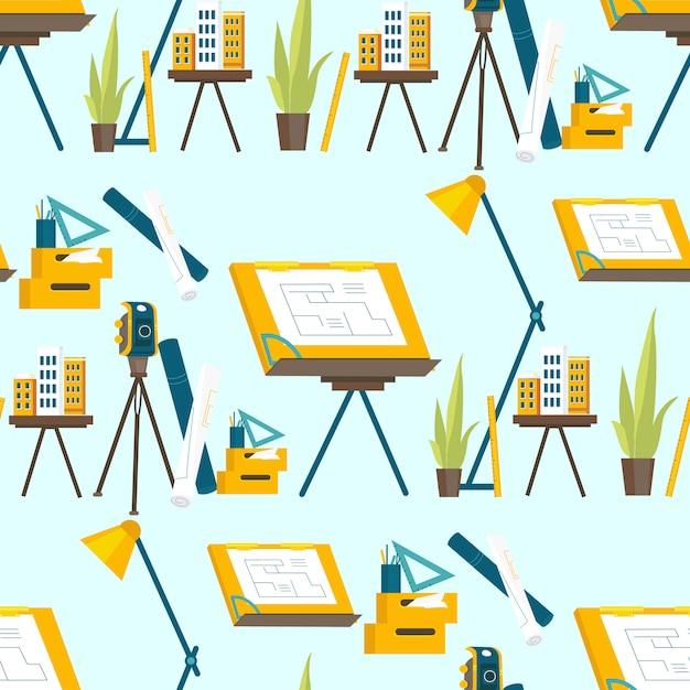 Eine reihe von arbeitswerkzeugen für den architekten Premium Vektoren