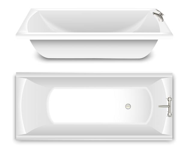 Eine reihe von badewanne in form einer schüssel. draufsicht und seitenansicht. Premium Vektoren