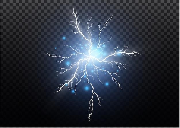 Eine reihe von blitzmagie und hellen lichteffekten. illustration. elektrischen strom entladen. ladestrom. naturphänomen. energieeffektillustration. helle lichtfackeln und funken Premium Vektoren