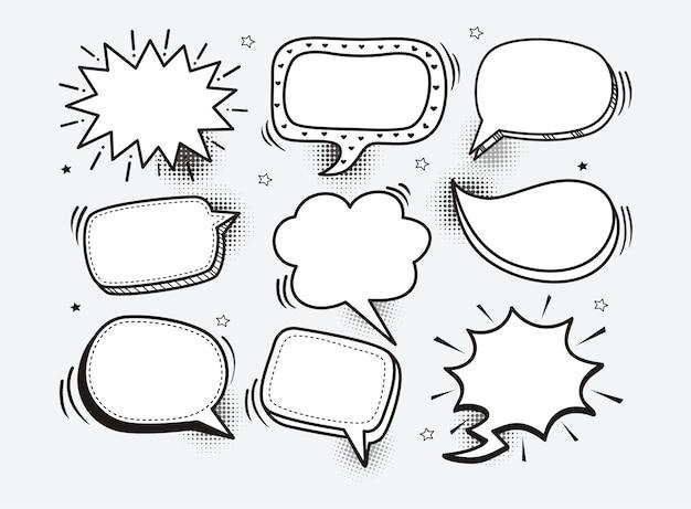 Eine reihe von comic-sprechblasen und elemente mit halbton schatten Premium Vektoren
