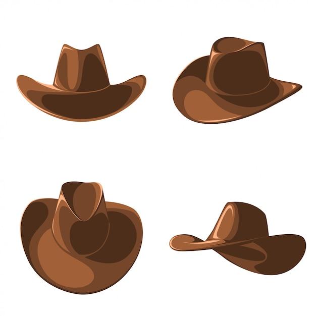 Eine reihe von cowboyhüten. Premium Vektoren