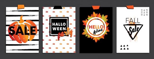 Eine reihe von designs für herbst- und halloween-postkarten Premium Vektoren