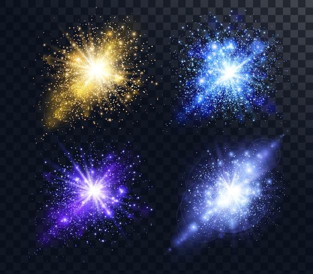 Eine reihe von explosionen von glänzenden goldenen und blauen partikeln funkelt und glitzert Premium Vektoren