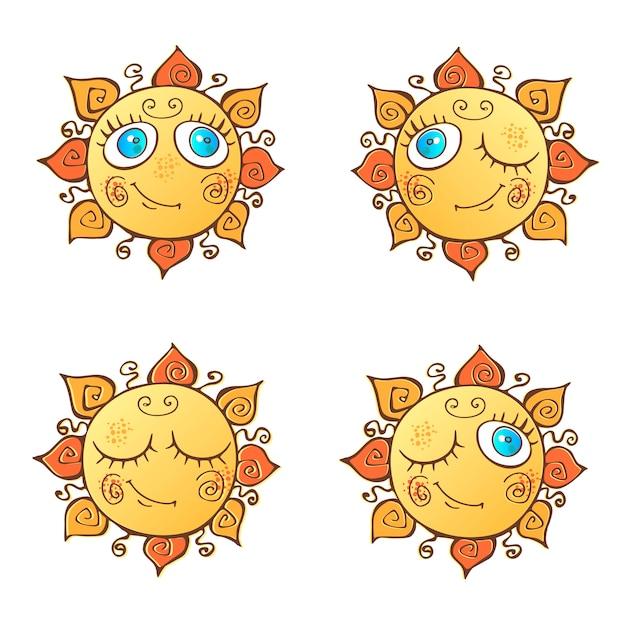 Eine reihe von fröhlichen sonnen im cartoon-stil. Premium Vektoren
