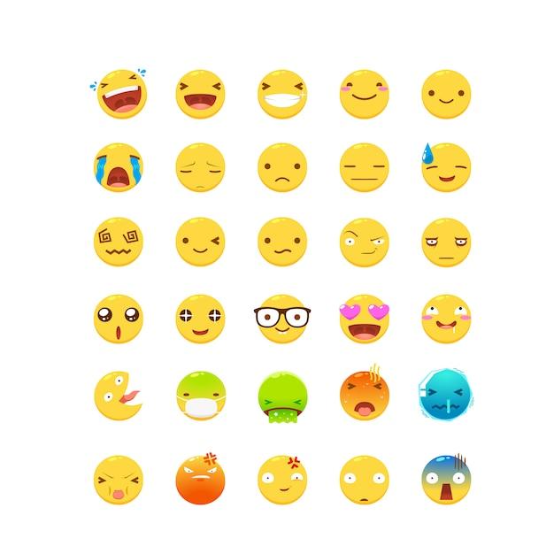Eine reihe von gelben emoticon Premium Vektoren