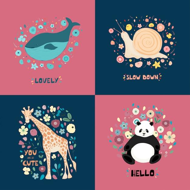 Eine reihe von illustrationen mit niedlichen tieren, blumen und hand schriftzug. giraffe, panda, schnecke, wal Premium Vektoren