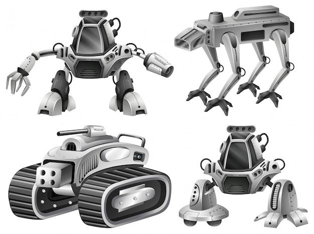 Eine reihe von isolierten roboter Kostenlosen Vektoren