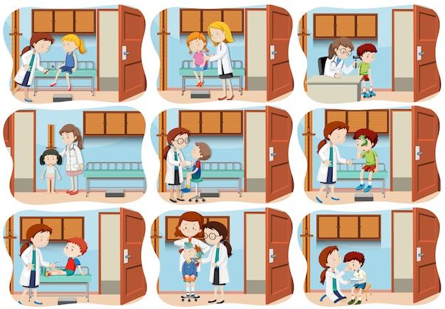 Eine reihe von kindern gesundheitswesen Premium Vektoren