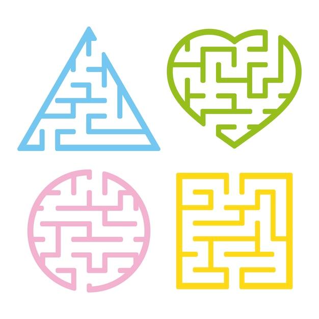 Eine reihe von labyrinthen. Premium Vektoren