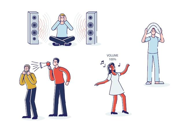 Eine reihe von menschen, die müde von lauter musik und lautem ton aus lautsprechern und megaphon sind Premium Vektoren