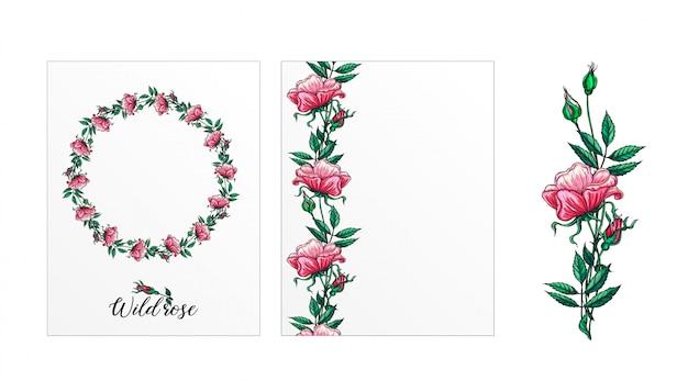 Eine reihe von postkarten mit rosenblüten. pinke blumen. rose. Premium Vektoren