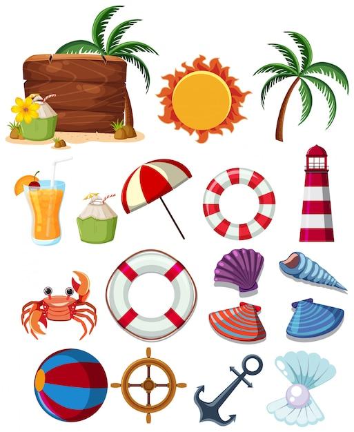 Eine reihe von sommer strandelementen Premium Vektoren