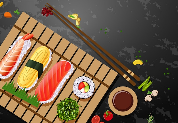 Eine reihe von sushi-mahlzeit Kostenlosen Vektoren