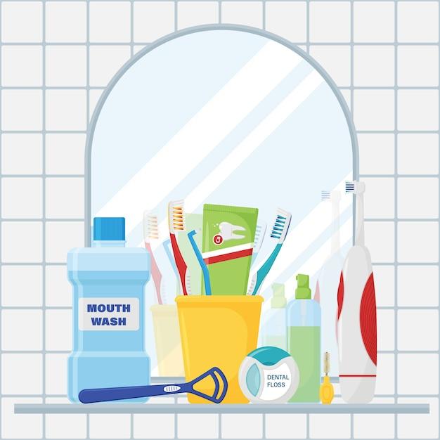 Eine reihe von werkzeugen zur zahnreinigung und mundpflege Premium Vektoren