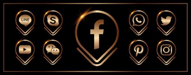 Eine sammlung populärer social media-ikonen Premium Vektoren