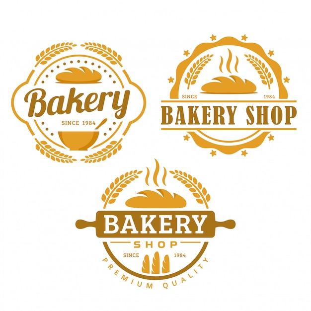Eine sammlung von bäckerei-logo-vorlage, bäckerei-shop-set, vintage retro-stil logo pack Premium Vektoren