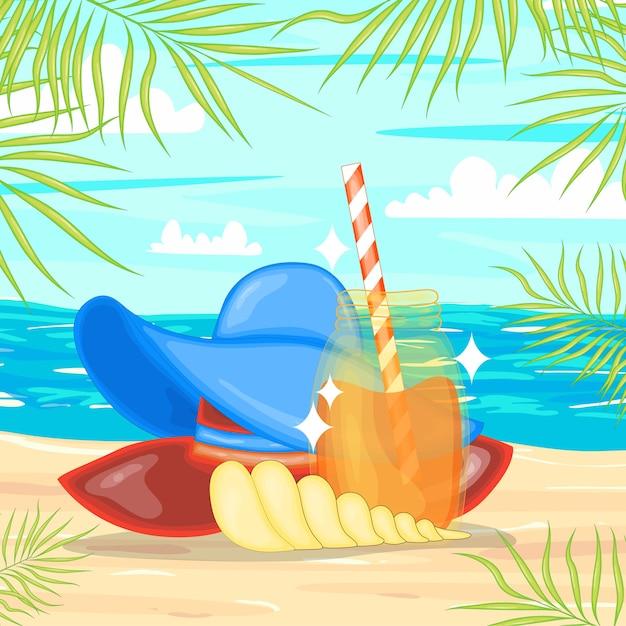 Eine sammlung von sommerartikeln. cartoon-stil. Premium Vektoren