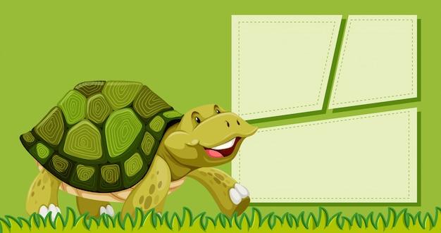 Eine schildkröte auf leere notiz Kostenlosen Vektoren