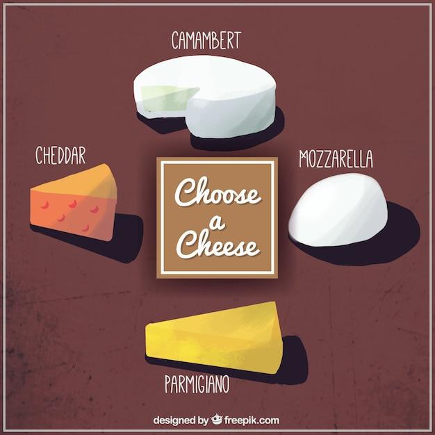 Eine schöne auswahl an käse von hand bemalt Kostenlosen Vektoren