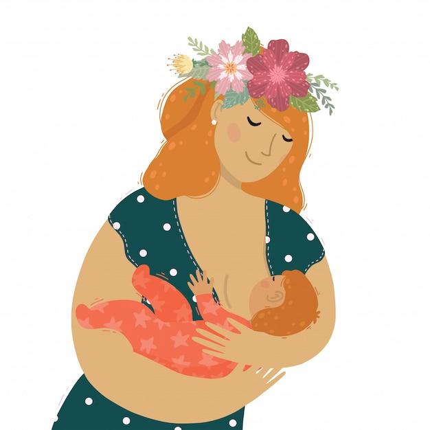 Eine schöne mutter mit blumen im haar, das ihr babykind stillt. Premium Vektoren