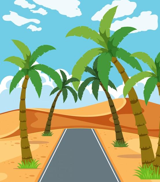 Eine schöne wüstenstraße Premium Vektoren