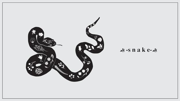 Eine schwarze schlange mit weißen blumen und pflanzen. Premium Vektoren